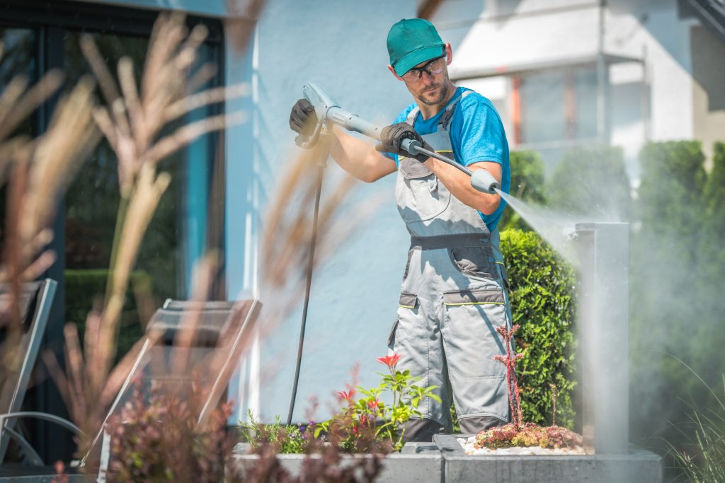 Pressure Washing in Garden